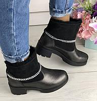 Модные зимние полусапожки ботинки кожаные женские на толстом каблуке танкетке и платформе спереди Е41EВ59-1IЕ