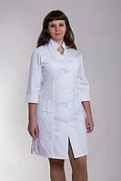 Стильный медицинский халат на пуговицах коттон