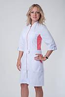 Батистовый медицинский халат на молнии с цветными вставками