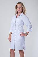 Медицинский халат коттон в белом цвете на пуговицах