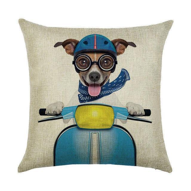 декоративная подушка с собакой на мопеде магазин носик