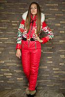 Женский лыжный комбинезон  с цветочным принтом