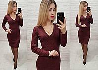 Платье трикотаж арт. 803 вишня - бордо, фото 1