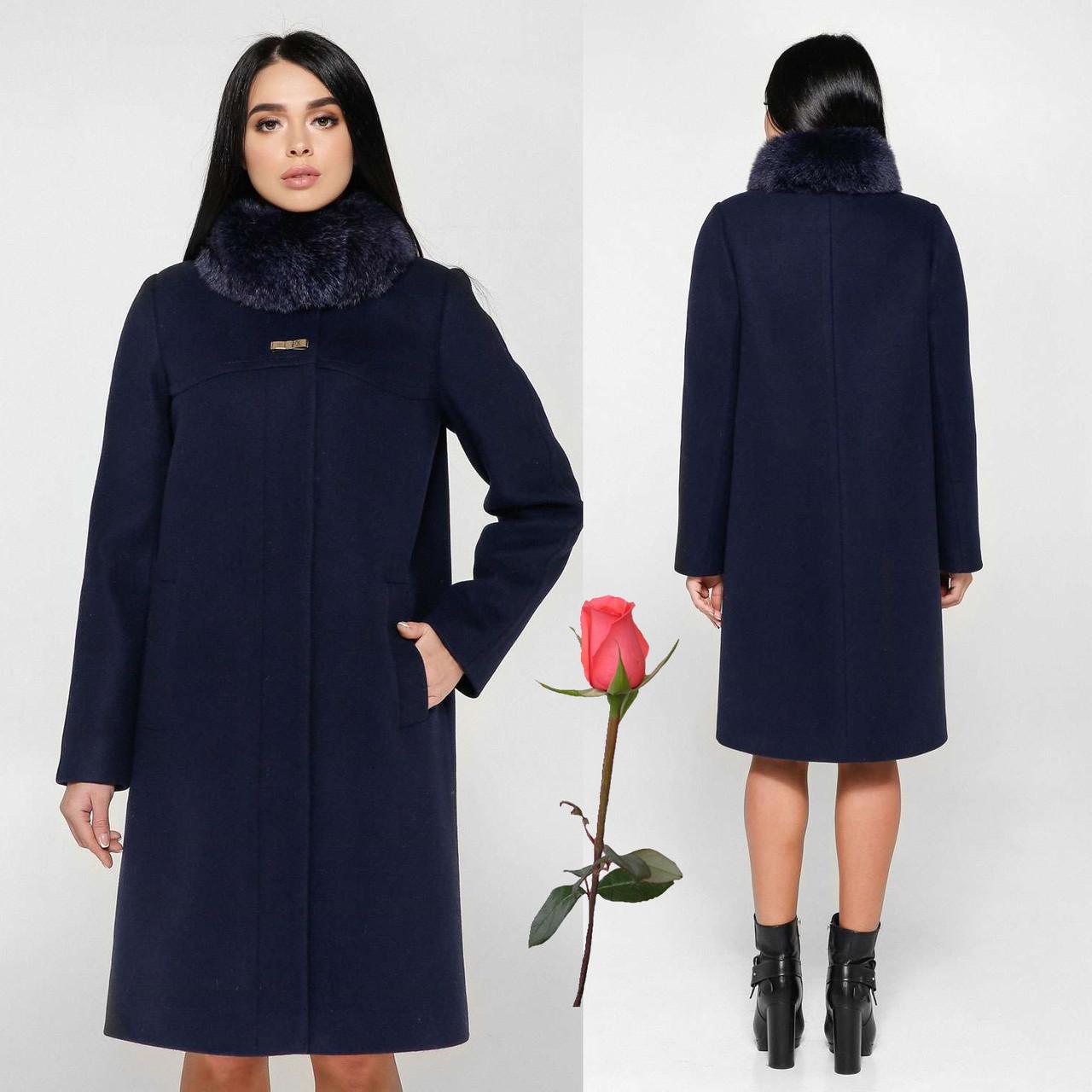 Женское зимнее пальто F 77990  Темно-синий