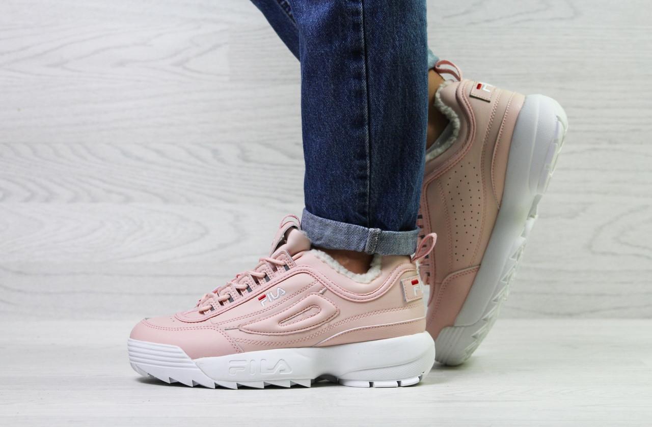 f788b665456c Кроссовки женские на меху Fila розовые с белой подошвой топ реплика -  Интернет-магазин обуви