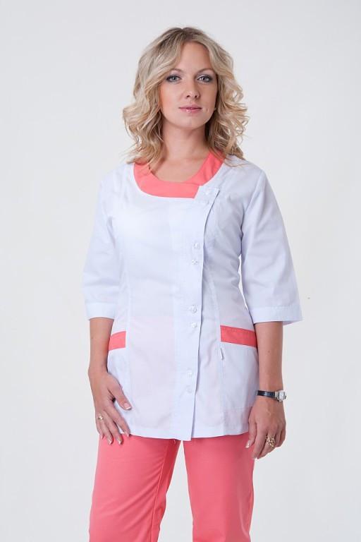 Медицинский костюм белый с персиковыми вставками на пуговицах