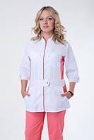Модный медицинский костюм батист на молнии белый с персиковым