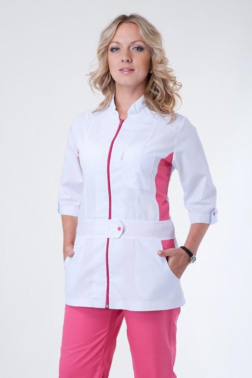 Женский медицинский костюм на молнии белый с розовым