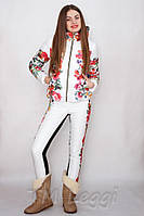Женский термокостюм с узкими брюками, комбинированным с теплым трикотажем