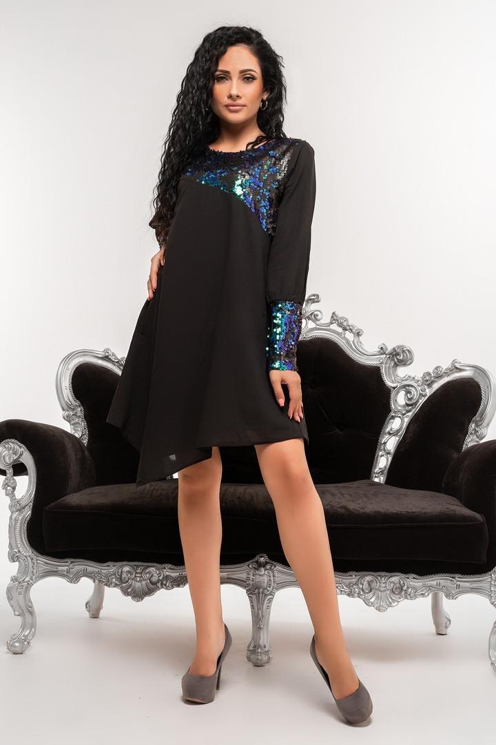 ca5ae6720e4 Купить Платье нарядное вечернее чёрное с паеткой оптом и в розницу ...