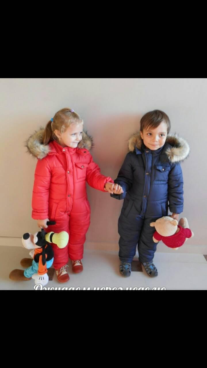 Комбинезон слитный зимний для девочки, размеры 80, 86, 92, 98, 104, 110