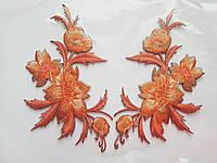 """Аплікація вишивка клейова """"Квіти"""" оранжеві темні на чорному, 12 см,1пара"""