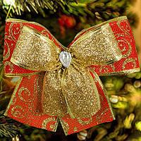 Бант на елку из ткани Двойные красный, 5 штук