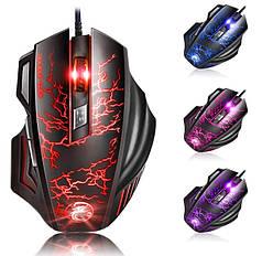 Игровая мышь мишка USB 3200DPI мышка компьютерная оптическая черная LED windows A7 Apedra