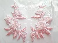 """Аплікація вишивка клейова """"Квіти"""" ніжно-рожеві, 12 см,1пара"""
