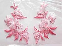 """Аплікація вишивка клейова """"Квіти"""" рожеві, 12 см,1пара. Аппликация клеевая, термоаппликации"""