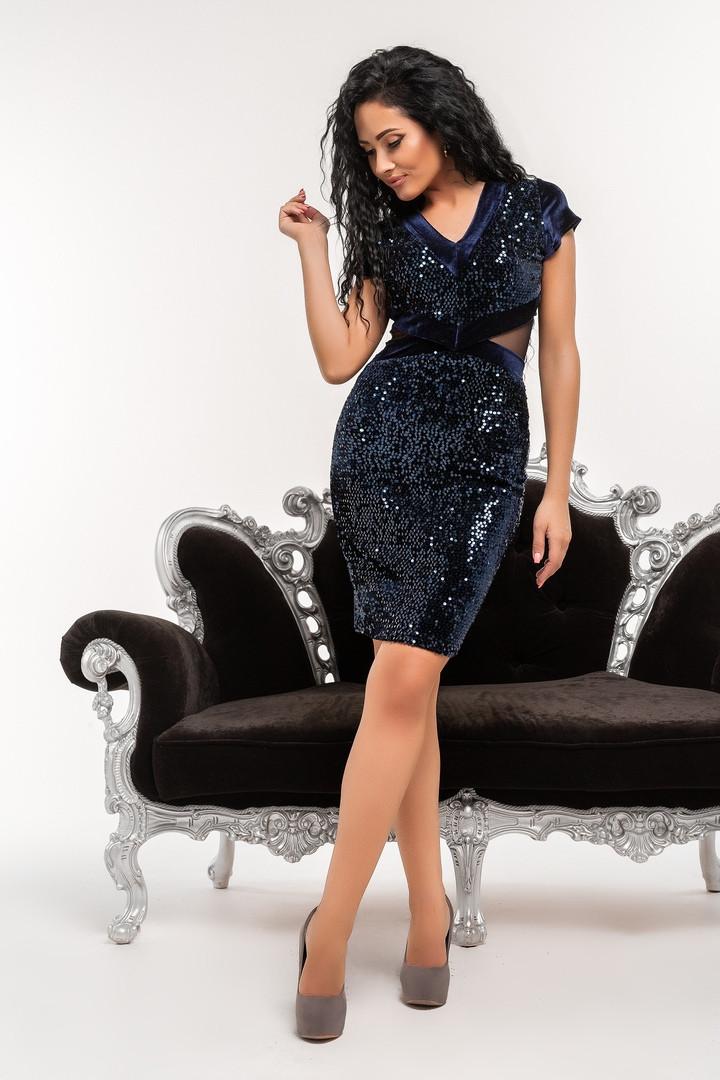 dd688f45e2a Купить Платье нарядное вечернее синее с паеткой оптом и в розницу от ...