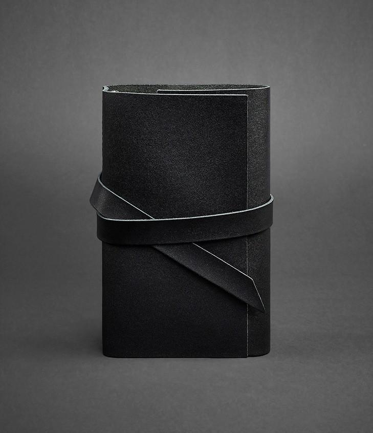 Блокнот кожаный, софт-бук черный 120 листов (ручная работа)