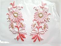 """Аплікація вишивка клейова """"Квіти"""" рожеві, 12 см,1пара"""