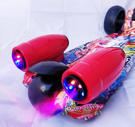 Детский музыкальный самокат с дымом и подсветкой Скутер SMART - Граффити, фото 2