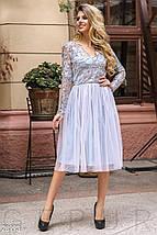 Вечернее платье миди с пышной юбкой с длинными рукавами светло серое, фото 3