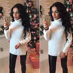Зимний женский вязаный свитер под горло