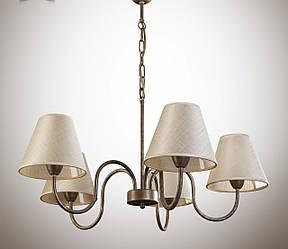 Люстра коричнева для залу, спальні, з абажуром 5-ти лампова 10505