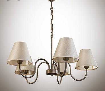 Люстра для зала, спальни, с абажуром 5-ти ламповая  10505