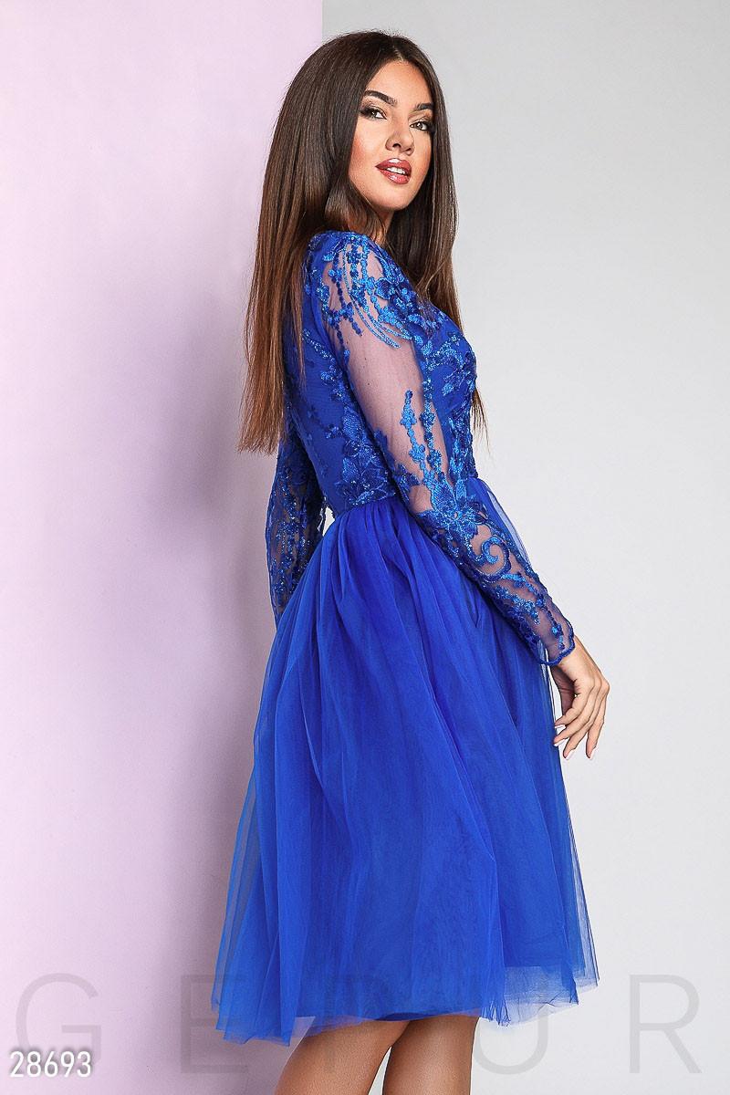 bd9586acbf25587 Вечернее платье средней длины с пышной юбкой с длинными прозрачными  рукавами ярко синее, цена 1 222 грн., купить в Днепре — Prom.ua  (ID#816103407)