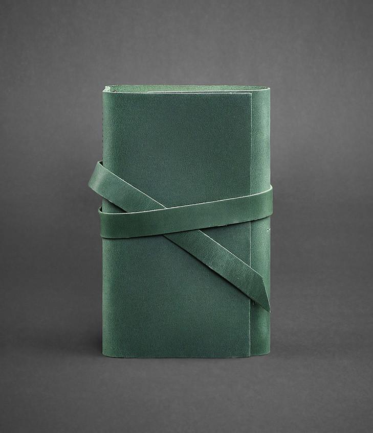 Блокнот кожаный, софт-бук зеленый 120 листов (ручная работа)