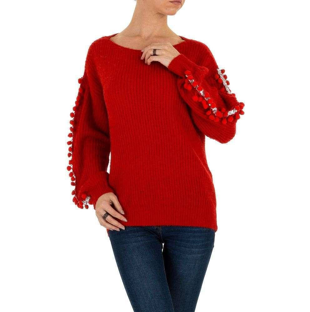 Женский джемпер с помпончиками на рукавах Voyelles (Италия), Красный