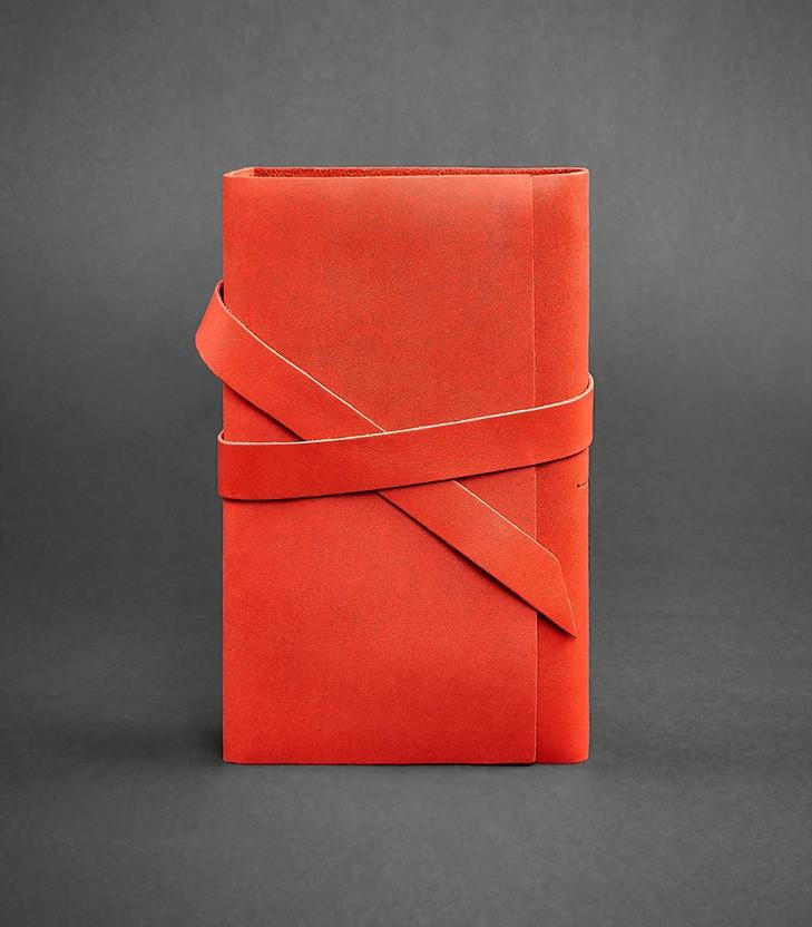 Блокнот кожаный, софт-бук коралловый 120 листов (ручная работа)