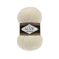 Пряжа для вязания Alize Lanagold 01 кремовый (Ализе Лана голдлизе Ланаголд)