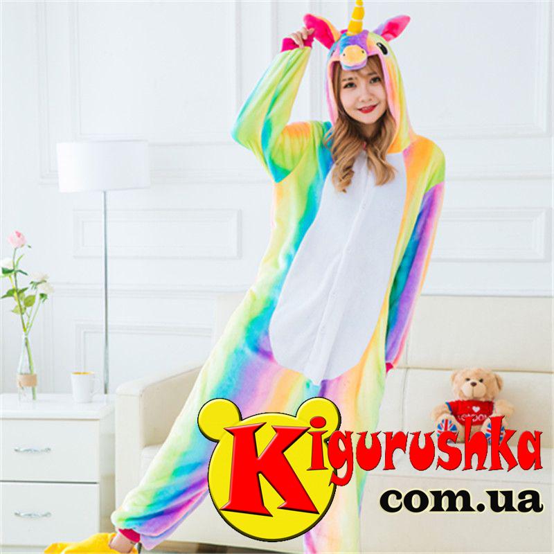 Костюм пижама Единорог Яркая радуга кигуруми для взрослых -  Интернет-магазин