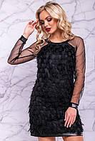 Женское нарядное платье, чёрное, короткое, праздничное, молодёжное, коктейльное
