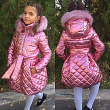 Детское ультрамодное зимнее блестящее пальто на девочку (плащевка, синтепон, флис)