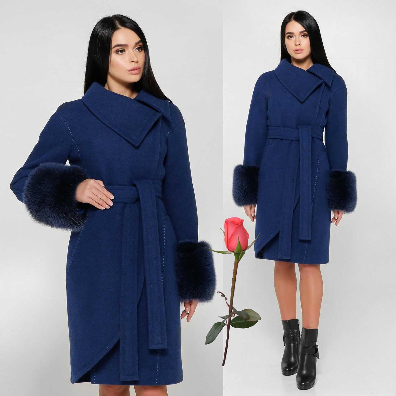Зимнее женское пальто с мехом на рукавах  F 771177  Синий