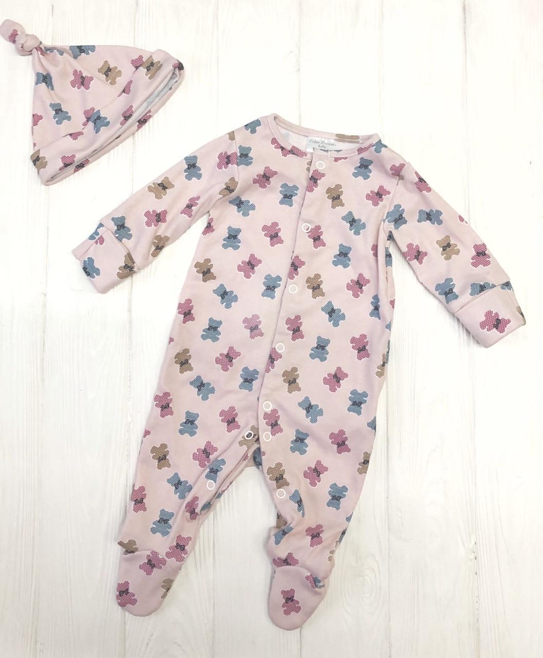 """Слип для новорожденного с шапочкой """"Мишки-печенечки на розовом"""""""