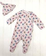 """Человечек для новорожденного с шапочкой """"Мишки-печенечки на розовом"""""""