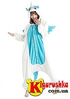 Пижама кигуруми Единорог бело-голубой цвет