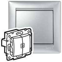 Выключатель двойной с двумя индикаторами - Valena - 10 AX - 250 В~ - алюминий