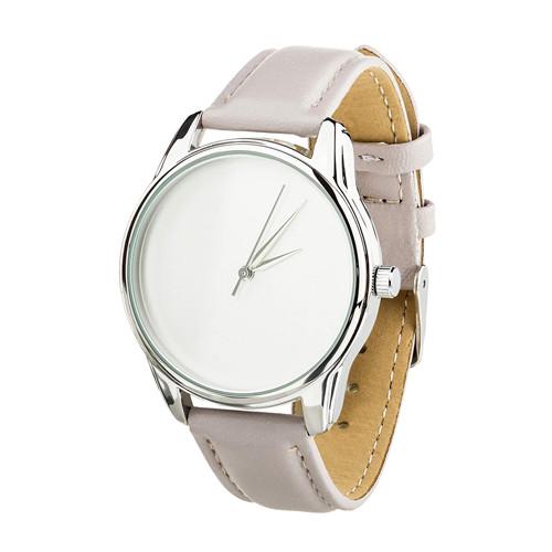 Дизайнерские наручные часы Минимализм серебро на белом слоновая кость (4600158)