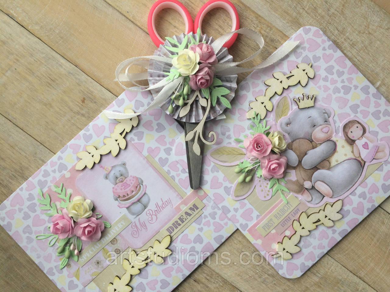 Набор для первого дня рождения. Конверт и ножницы для локона, конверт для письма в будущее
