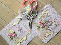 Набор для первого дня рождения. Конверт и ножницы для локона, конверт для письма в будущее, фото 1