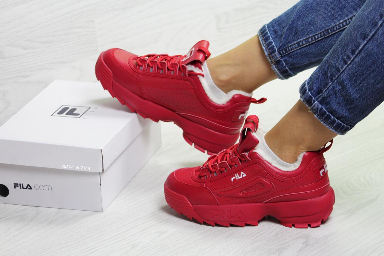 ea05b9cd8 Зимние женские кроссовки Fila Disruptor 2 - Фила красные с мехом / кросівки  жіночі філа (