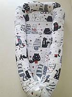 """Позиционер для новорожденных """"Joy"""" совы с зонтами Viall жирные коты"""