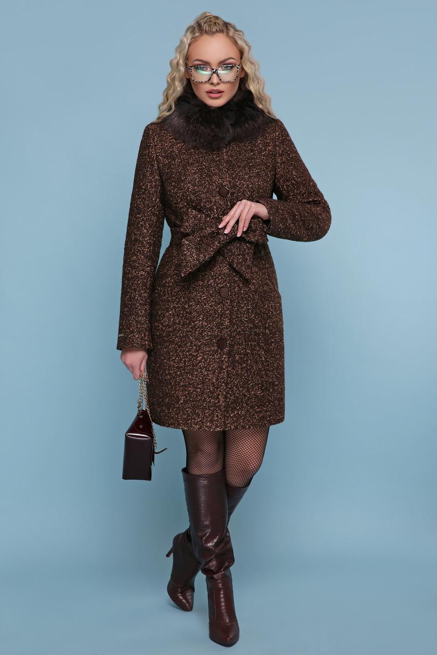 Зимове жіноче шерстяне пальто на пояску з натуральним хутром ... b230140490092