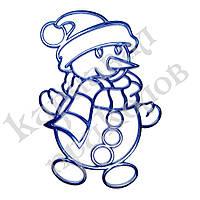 Украшение Снеговик метал. 12х9см (синий)