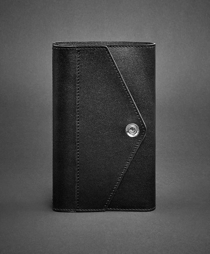 Блокнот на кнопке кожаный, софт-бук черный (ручная работа)