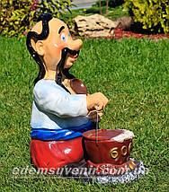 Садовая фигура Козак с борщом, фото 3